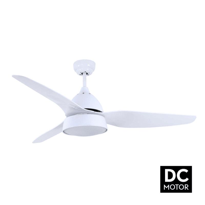 Ventilateur de plafond DC moderne avec lumière, telecommande couleur blanc et pales blanches