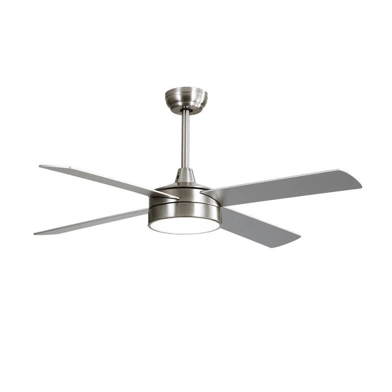 Ventilateur de plafond moderne nickel 132 cm avec lampe,télécommande