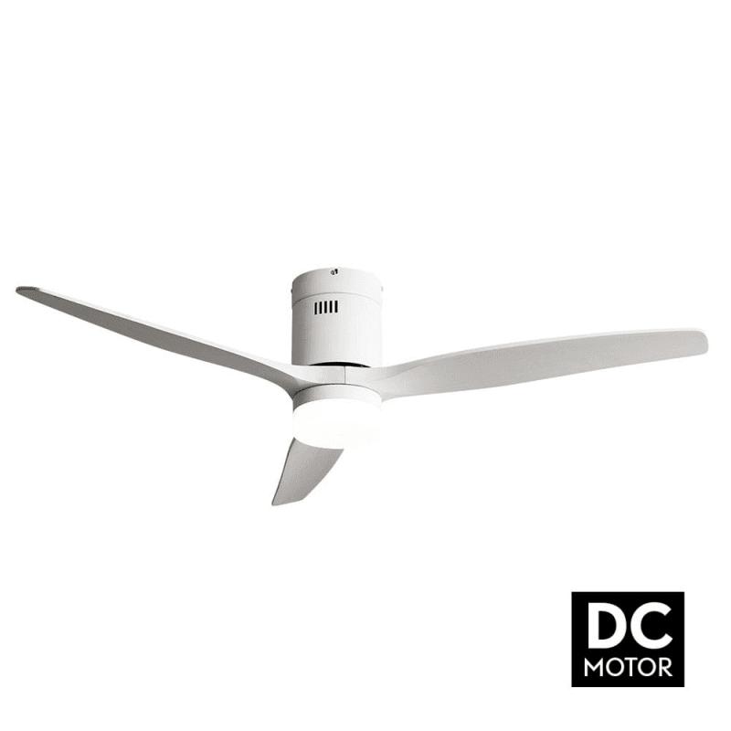 Ventilateur de plafond DC Short white moderne 132 cm blanc télécommande de Lba Home