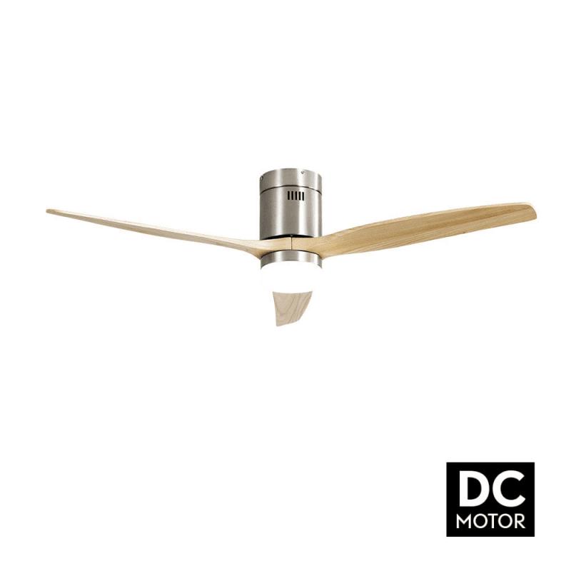 Ventilateur de plafond DC Short Lt Slide Wood avec Led moderne 132 cm télécommande de Lba Home