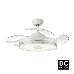 Soundmix White de LBA HOME, un point lumineux puissant avec des pales escamotable, un ventilateur très efficace.