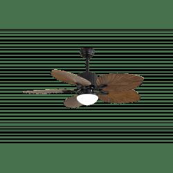 Ventilateur de plafond exotique Fiji 132 Cm avec lumiere pales en forme de feuille de palmier