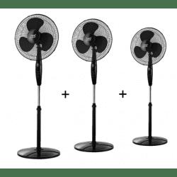 Lot de 3 Ventilateurs sur pied noir Inverna 40 Cm, avec télécommande,multi-orientable