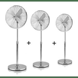 Lot de 3 Ventilateurs sur pied gris Pali 44 Cm, avec oscillation et multi-orientable
