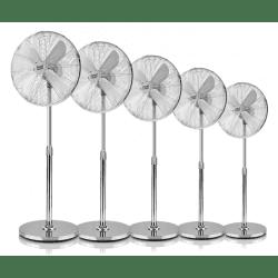 Lot de 5 Ventilateurs sur pied gris Pali 44 Cm, avec oscillation et multi-orientable