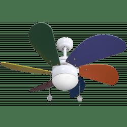 Ventilateur de plafond pour enfant style naïf 85 cm, avec point lumineux, pales multicolores.