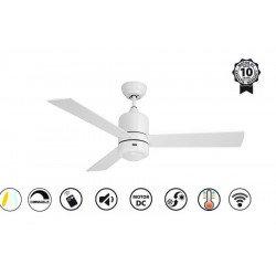 Sirocco II de KlassFan un ventilateur de plafond DC réversible Blanc avec lampe Led dimmable, pales - blanches