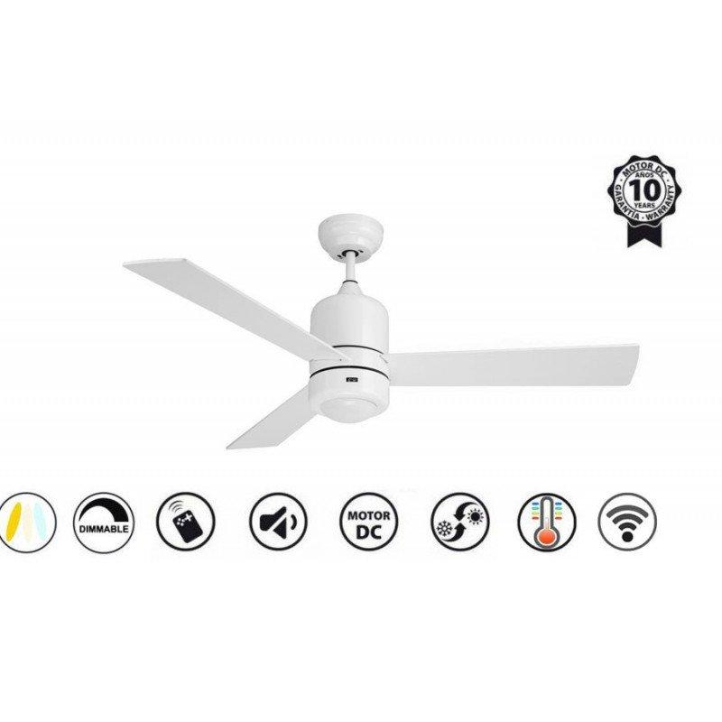 Sirocco de Purline by Klassfan blanc un ventilateur de plafond silencieux, design pour pièces moyennes de 15 à 25 m²