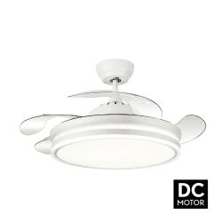 Ventilateur de plafond blanc Bayomo 107 cm pales escamotables transparentes avec télécommande, point lumineux hyper puissant