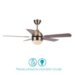 Ventilateur de plafond moderne marron -106 cm , 1 ampoules E27, tirette ,télécommande