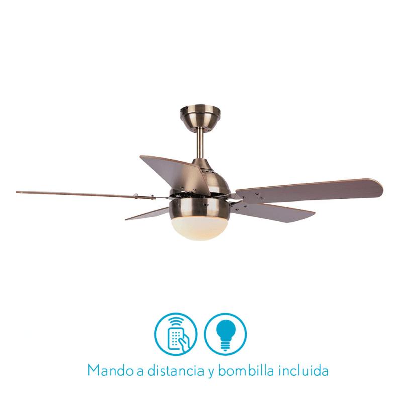 Ventilateur de plafond moderne marron-106 cm ,1 ampoules E27, tirette ,télécommande
