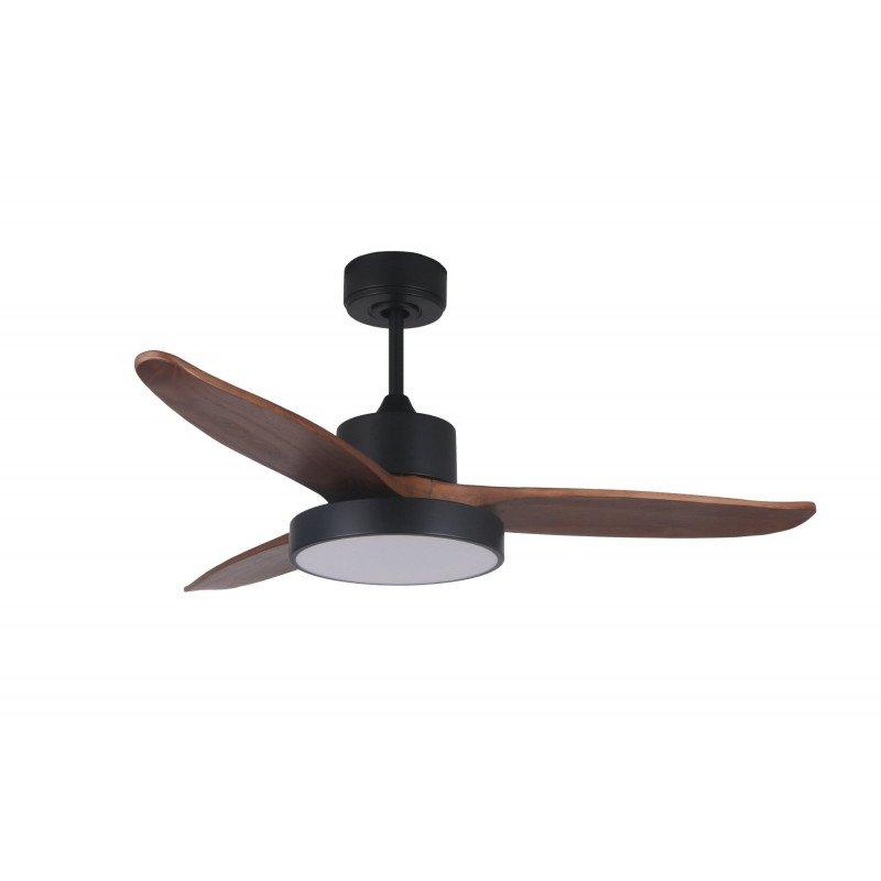 Ventilateur de plafond DC design bois et noir mate, silencieux, DC 132 cm Darkwind Lba Home