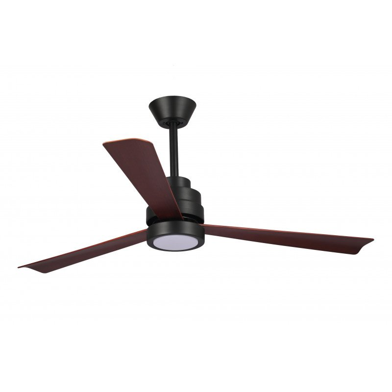 Ventilateur de plafond DC design imitation bois et noir mate, silencieux, DC 132 cm Nass Black Klassfan