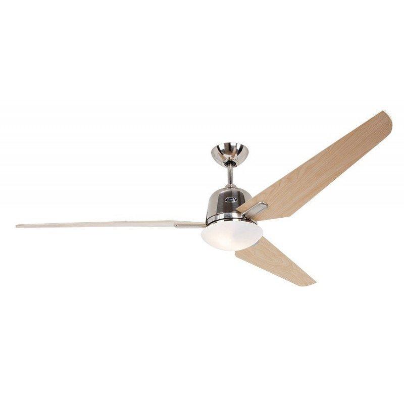 Ventilateur De Plafond Dc Eco Aviatos Bn Ah Moderne  162 Cm Chrome Brosse Pales Erable Avec Lampe Ultra Silencieux