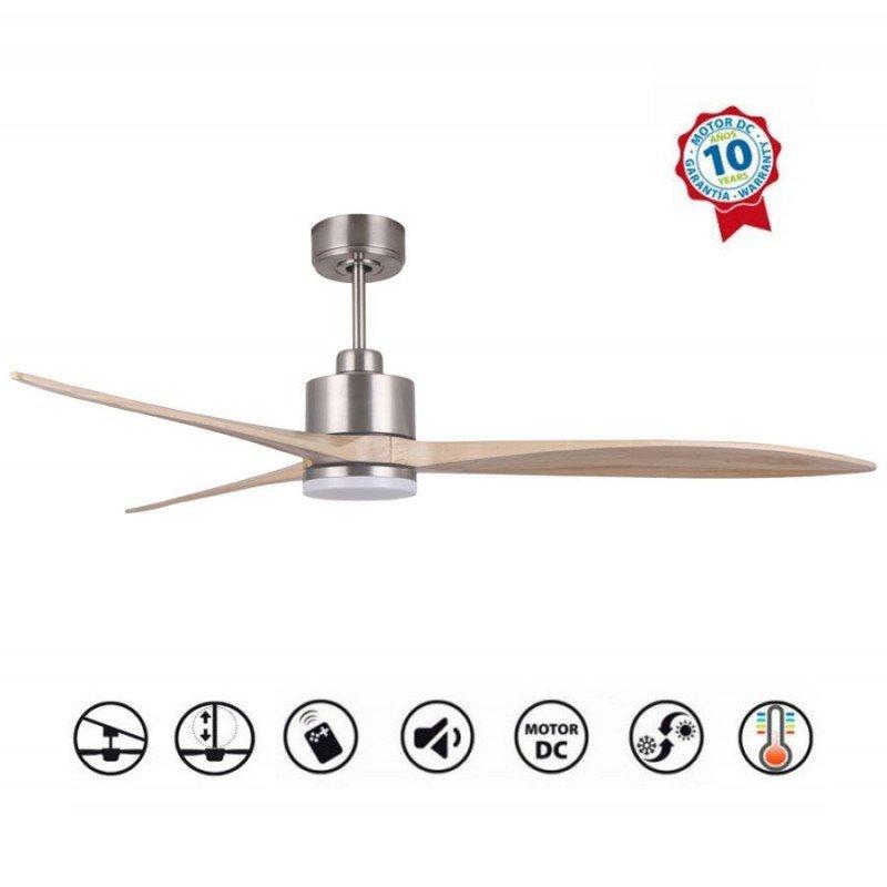 Ventilateur de plafond, super destratificateur moteur DC, 166 Cm pales bois , thermostat, ultra silencieux, Wifi, Latino III lt