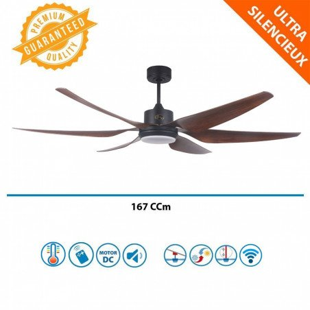 Ventilateur de plafond super destratificateur DC 167 Cm Klassfan, ultra puissant, hyper silence, LEd, Wifi thermostat