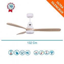 Ventilateur de plafond DC design bois clair et boitier blanc mate, silencieux, DC 132 cm lanzarote