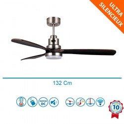 Ventilateur de plafond DC design lampe et boîtier chrome et pales bois noyer, silencieux, DC 132 cm lanzarote Klassfan