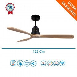 Ventilateur de plafond DC destratificateur design bois claire boitier noir, silencieux, DC 132 cm Lanzarote Klassfan