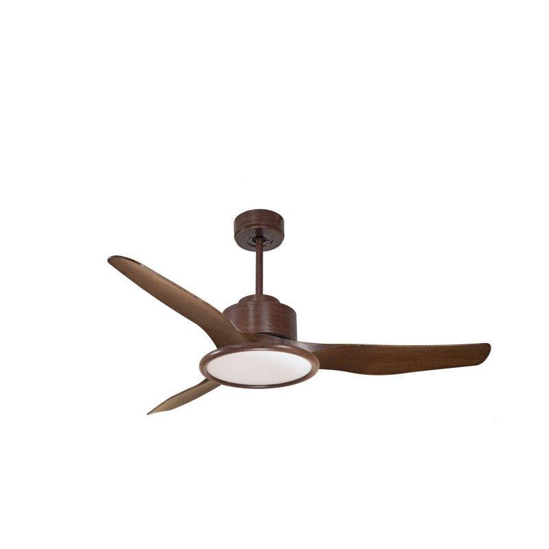 Modulo de KlassFan - Ventilateur de plafond avec Lumière marron laqué et bois idéal pour 25 à 40 m² KL_DC2_P4WoL2Wo