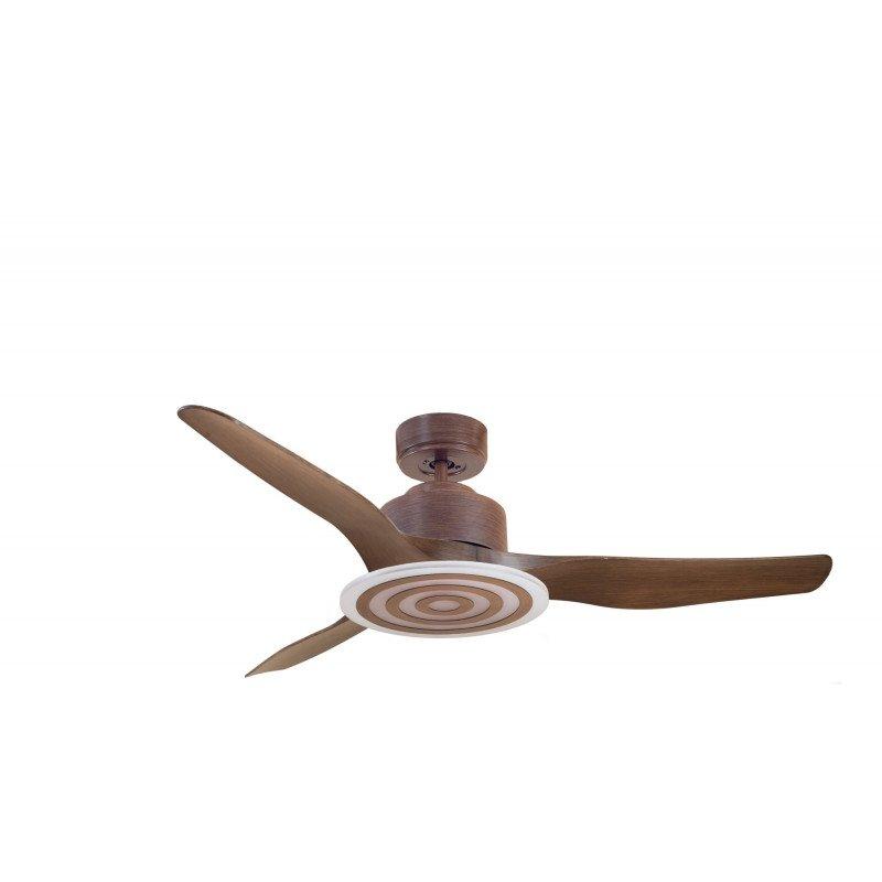 Modulo de KlassFan - Ventilateur de plafond avec Lumière marron laqué et bois idéal pour 25 à 40 m² KL_DC2_P4WoL3Wo