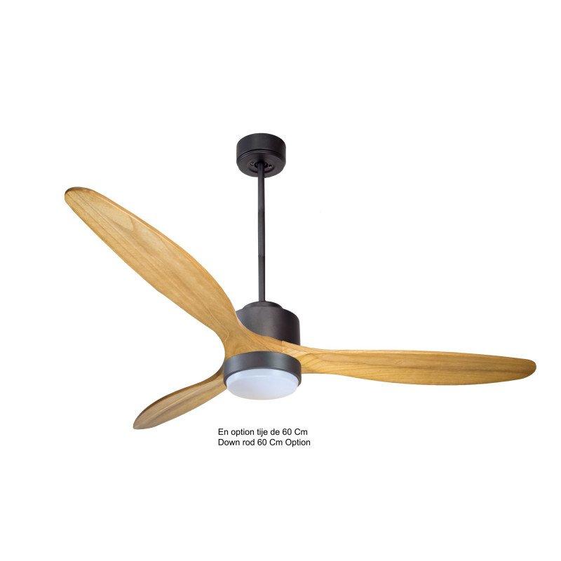 Modulo de KlassFan - Ventilateur de plafond avec Lumière,gris basalt bois clair,thermostat,idéal 25 à 40 m² KL_DC1_P5SW166_L1Bk