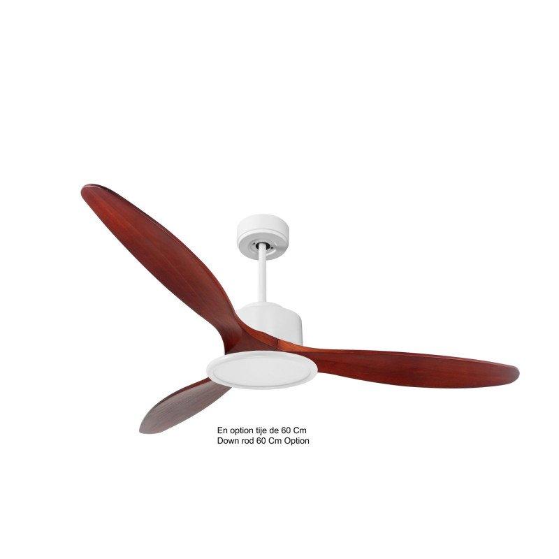 Modulo de KlassFan - Ventilateur de plafond avec Lumière blanc bois rouge idéal de 25 à 40 m KL_DC4_P5RW166_L2Wi
