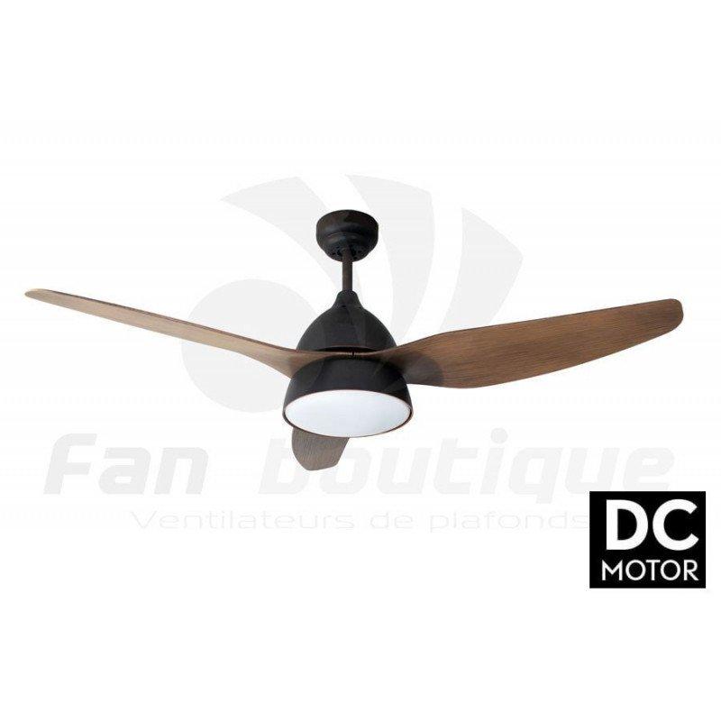 Ventilateur de plafond DC Marron moderne avec lumière, telecommande