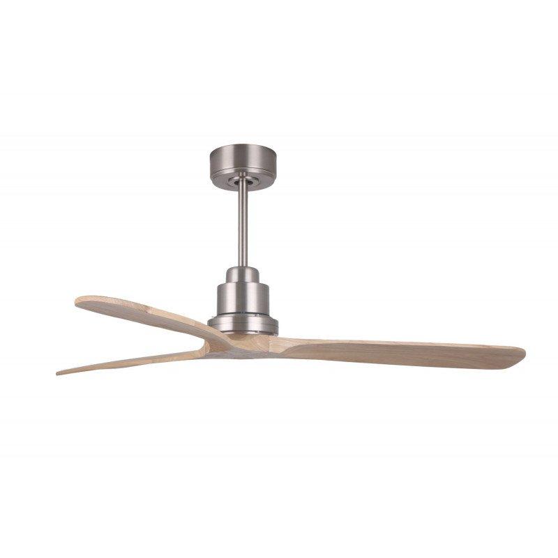 Ventilateur de plafond DC destratificateur design bois claire boitier chrome, silencieux, DC 132 cm Ibiza Lba Home