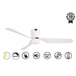 Klassfan LowProfile Ventilateur de plafond blanc moderne 132 cm plafond bas DC et point lumineux led