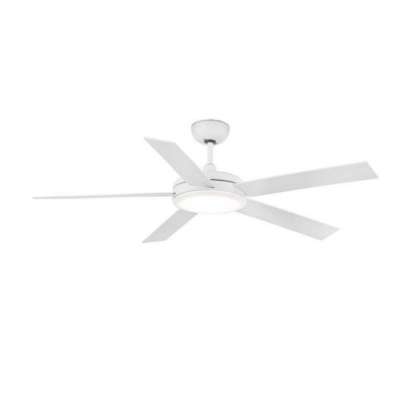 Ceiling fan LED lighting, design, silent, 132 cm., white and white blades, remote control, FARO Nova LED 33420