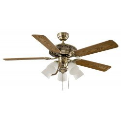 Classic Antique Brass Ceiling fan blades walnut / beech with light 132 cm Casafan Centurion 513243