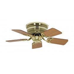 Ventilateur de plafond, Classic Flat, 75 Cm, Ultra plat, silencieux, pales chêne - hêtre et laiton poli, CASAFAN