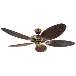 ceiling fan, Royal MA 132 Cm classic, antique brass, woven wicker blades dark, CASAFAN