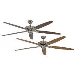 Ventilateur de plafond, Royal BN, classic 180 Cm, Chrome brossé, pales Chêne vieilli et noyer, CASAFAN