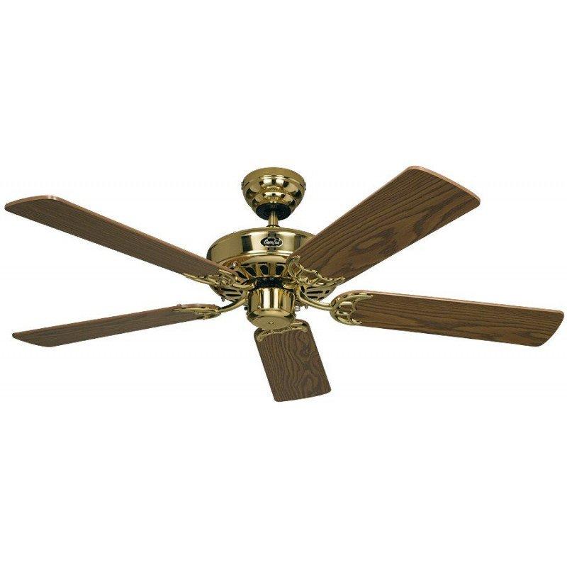 Ventilateur de plafond, Royal MP, classic 132 Cm, Laiton poli, pales chêne, CASAFAN