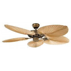 Ceiling Fan, Royal MA Palm 132 cm, Polished Brass, Antique Oak