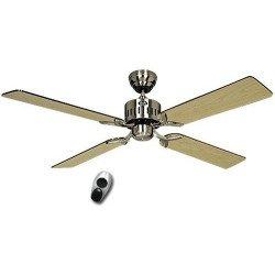 Ventilateur de plafond, TELESTO BN, 132 Cm, silencieux, pales Wengé - Erable et Chrome brossé, télécommande, CASAFAN