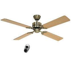 Ceiling Fan, TELESTO MA, 132 Cm, silent, antique brass. oak and beech blades, remote control, CASAFAN