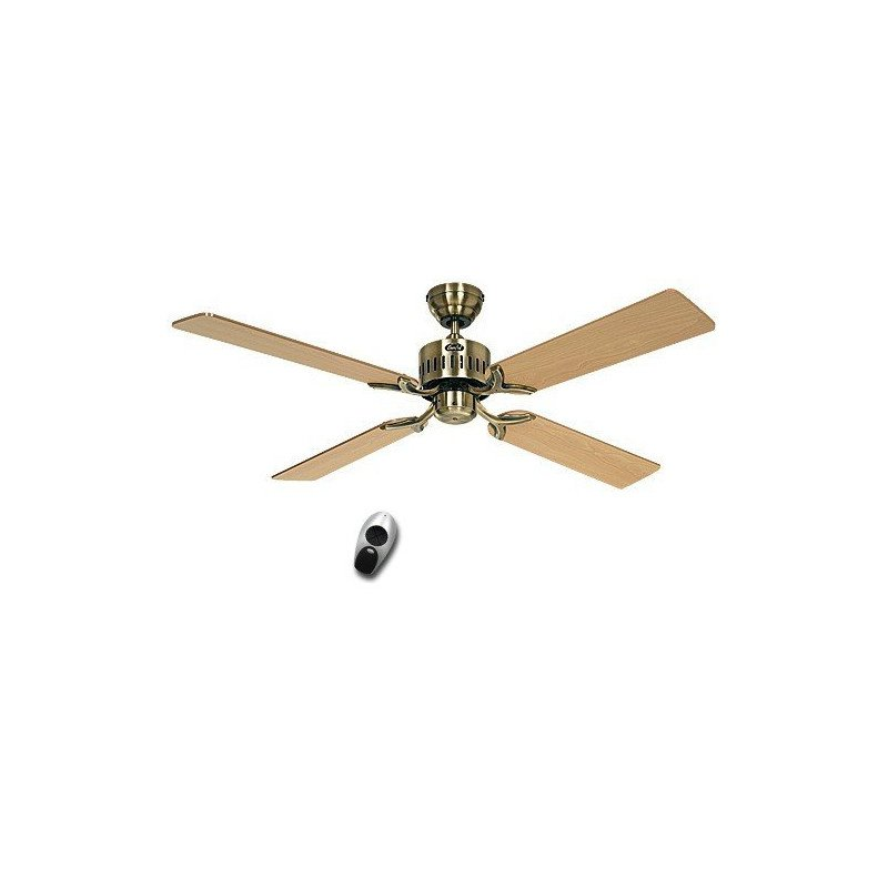 Ventilateur de plafond, TELESTO MA, 132 Cm, silencieux, pales Chêne - Hêtre et laiton antique, télécommande, CASAFAN