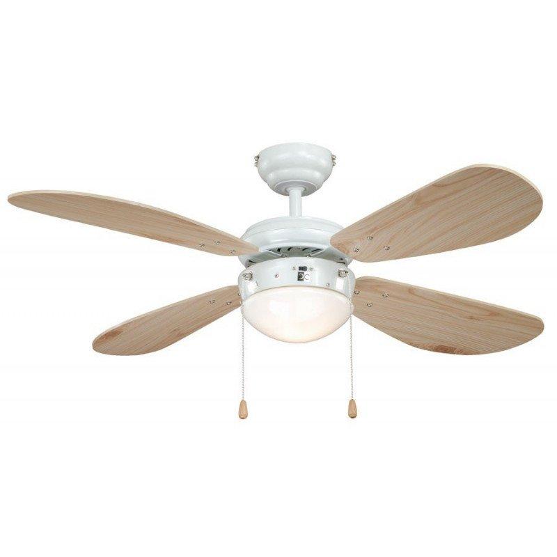 Ventilateur de plafond 105 cm acier laqué blanc , classique, avec lampe, pales pin, silencieux. idéal plafond bas.