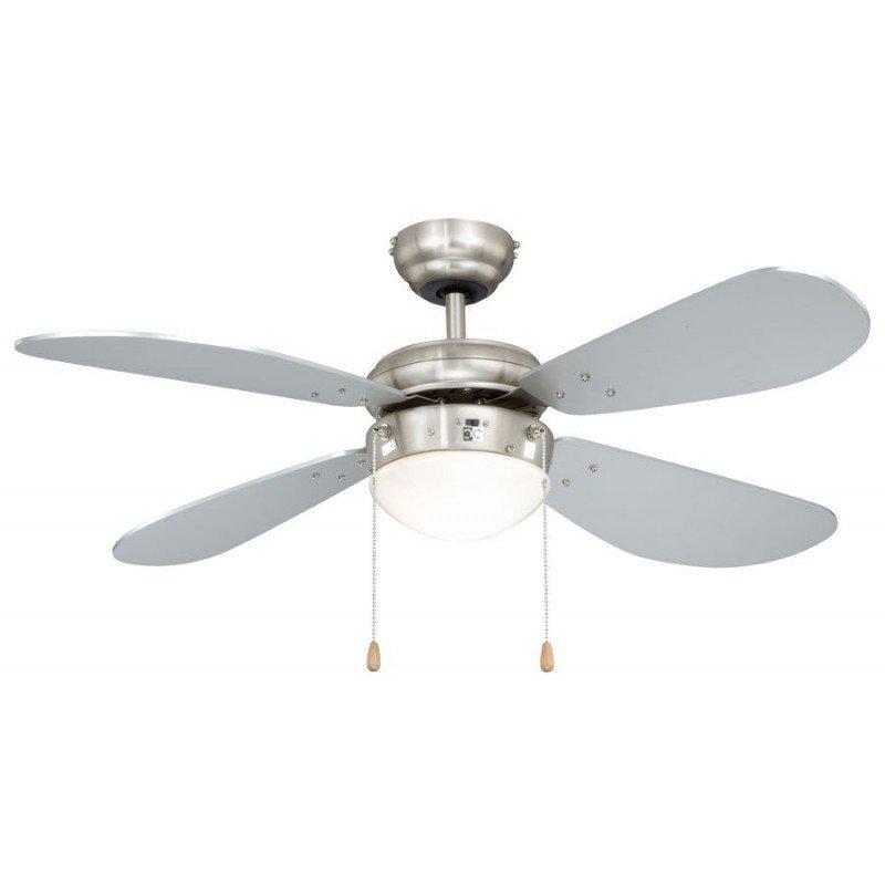 Ventilatore a soffitto 105 cm. acciaio nichelato, lame argento, leggero, ideale per i soffitti bassi.