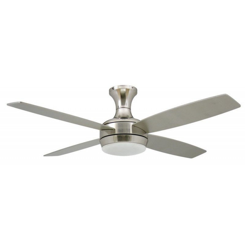 modern fan with light remote control gray blades chrome steel