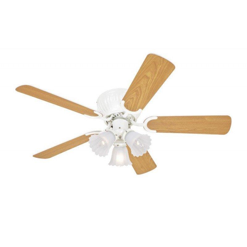 Ventilateur de plafond 105 cm, avec lampe pales bi faces blanches et bois clair.