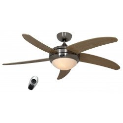 designer ceiling fan, quiet, 132 Cm brushed chrome, wood maple blades, with light, CASAFAN Elica BN-AH