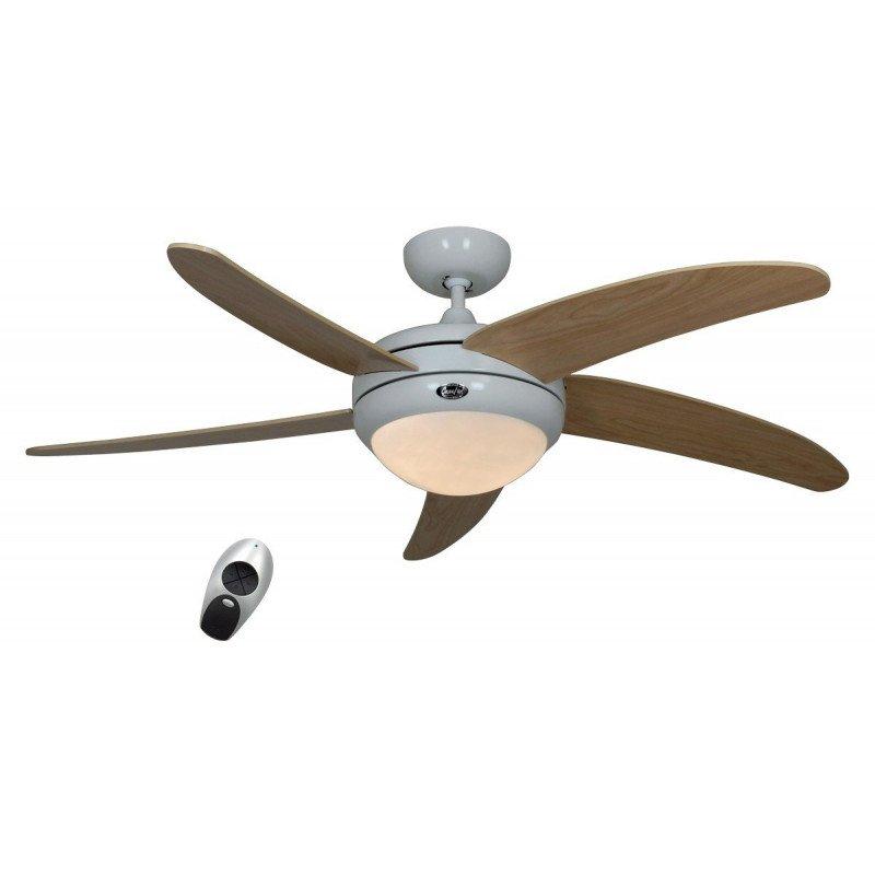 Ventilateur de plafond DC, moderne 132 Cm chrome brosse pales bois noyer avec lampe et telecommande, CASAFAN AERODYNAMIX
