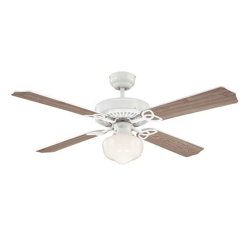 Ventilateur de plafond 132 cm, avec lampe corps blanc pales bi faces.