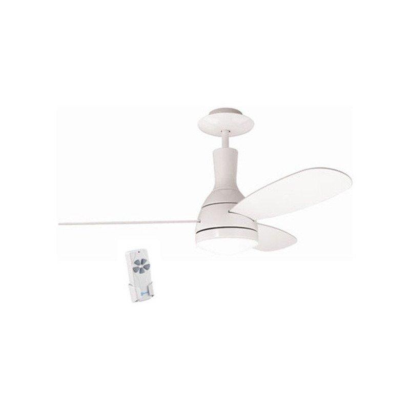 Ventilateur de plafond 122 cm blanc, avec lampe et télécommande.