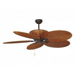 Patio es un ventilador de techo marron tropical colonial de 132 cm cuerpo de acero marron envejecido y mimbre trenzado marron
