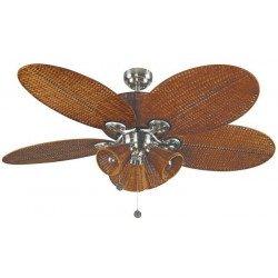 Patio un ventilateur de plafond tropical colonial de 132 Cm corps en acier marron vieilli et osier tresse marron avec lumiere.